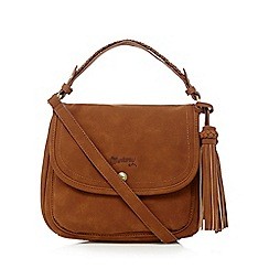 Mantaray - Tan suedette tasselled cross body bag