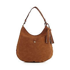Mantaray - Tan suedette tasselled shoulder bag