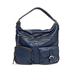 Mantaray - Navy elephant grained shoulder bag