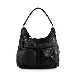 Mantaray - Black plaited hobo shoulder bag