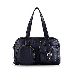 Mantaray - Navy plait detail bowler bag