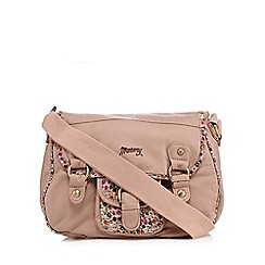 Mantaray - Light pink elephant grained floral print cross body bag