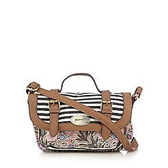 Mantaray - Light pink stripe floral cross body bag