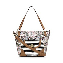 Mantaray - Light pink stripe floral tote bag