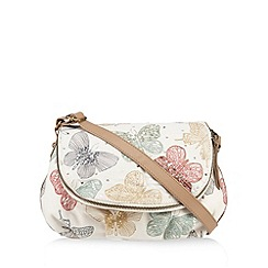 Mantaray - Cream butterfly embellished cross body bag