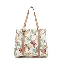 Mantaray - Cream butterfly embellished weekender bag