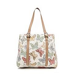 Mantaray - Cream butterfly embellished weekender bag