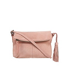 Mantaray - Light pink suede tasselled cross body bag