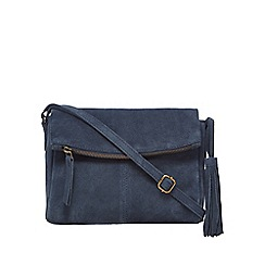 Mantaray - Navy suede tasselled cross body bag