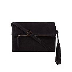 Mantaray - Black suede tasselled cross body bag