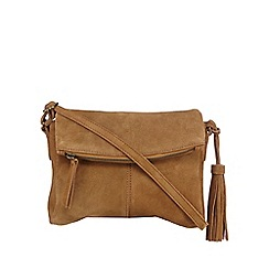 Mantaray - Tan suede tasselled cross body bag