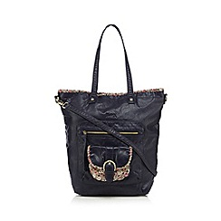 Mantaray - Navy ditsy print trim shopper bag