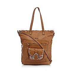 Mantaray - Tan ditsy print trim shopper bag