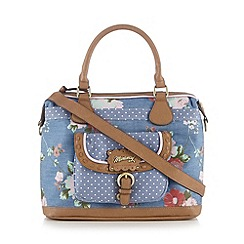 Mantaray - Blue denim floral print bowler bag