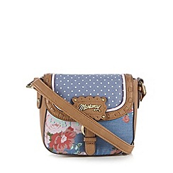 Mantaray - Blue denim floral print cross body bag