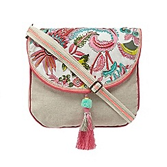 Mantaray - Light pink floral print sequin embellished saddle bag