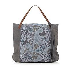 Mantaray - Navy floral print suede shopper bag