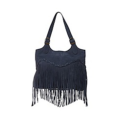 Mantaray - Navy fringed shoulder bag