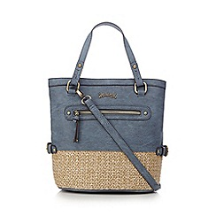 Mantaray - Blue straw front pocket shoulder bag