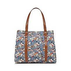 Mantaray - Blue bird print embellished weekender bag