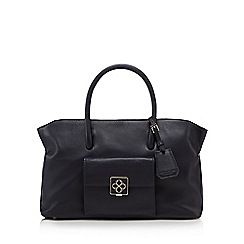 Bailey & Quinn - Navy leather logo plate large grab bag