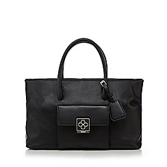 Bailey & Quinn - Black leather logo plate large grab bag