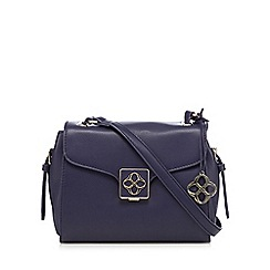 Bailey & Quinn - Navy leather logo detail cross body bag