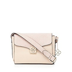 Bailey & Quinn - Light pink snakeskin-effect lock detail cross body bag