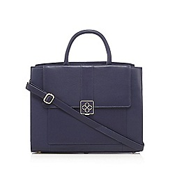 Bailey & Quinn - Navy leather logo plate grab bag