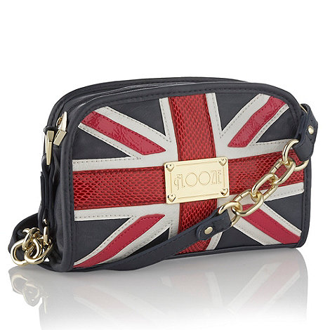 Floozie by Frost French - Designer navy appliqued union jack across body bag