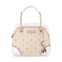 Floozie by Frost French - Cream straw spot print kettle bag