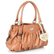 Tan cut out buckled shoulder bag