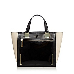 J by Jasper Conran - Black front panel small shopper bag
