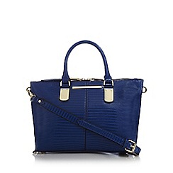 J by Jasper Conran - Bright blue croc-effect small grab bag