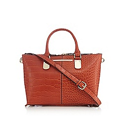 J by Jasper Conran - Orange croc-effect small grab bag