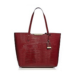 J by Jasper Conran - Red snakeskin-effect large shopper bag