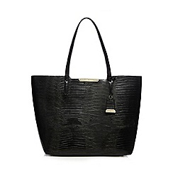 J by Jasper Conran - Black snakeskin-effect large shopper bag