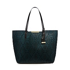 J by Jasper Conran - Dark turquoise snakeskin-effect large shopper bag