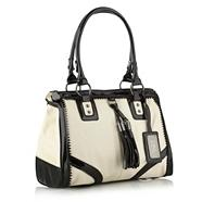 Designer Cream Colour Block Bowling Bag
