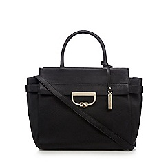 J by Jasper Conran - Black leather clasp pocket large tote bag