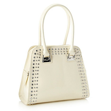 Star by Julien Macdonald - Designer cream studded patent kettle bag