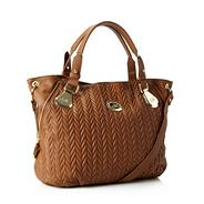 Designer tan chevron quilted tote bag