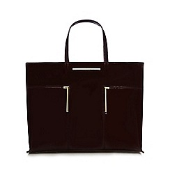 J by Jasper Conran - Dark red patent bar detail shopper bag