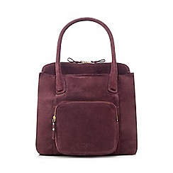 J by Jasper Conran - Dark purple suede front pocket tote bag