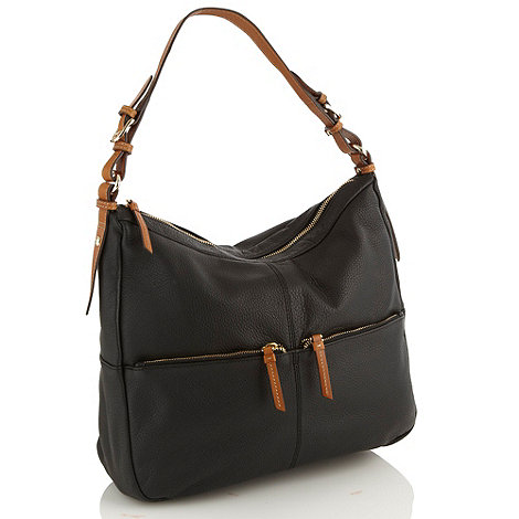 Principles by Ben de Lisi - Designer black grained leather slouch shoulder bag