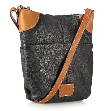 Principles by Ben de Lisi - Designer black leather colour block across body bag