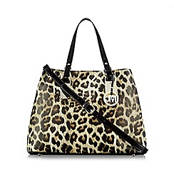 Star by Julien Macdonald - Black patent leopard print tote bag