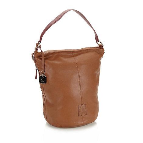 Betty Jackson.Black - Designer tan leather twist lock bucket bag with burgundy strap