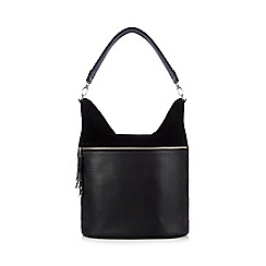 Principles by Ben de Lisi - Black snakeskin-effect large zip pocket shoulder bag