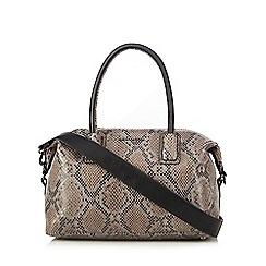 RJR.John Rocha - Grey textured snakeskin-effect zip bowler bag